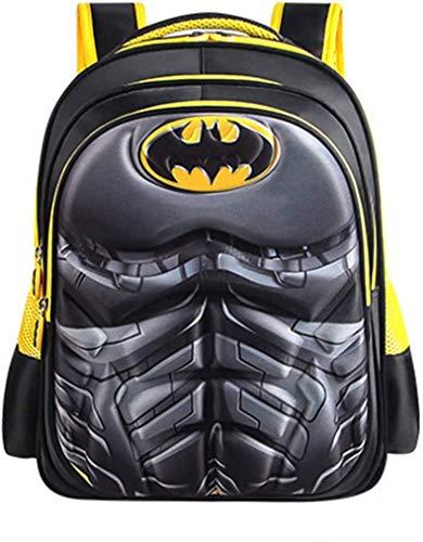 Sp-ider-Man - Zaino impermeabile per bambini, per scuola elementare, studente, supereroe, in 3D, con guscio rigido, per il pranzo dei ragazzi (dimensioni: L (43 x 21 x 32 cm), colore: Batman)