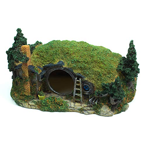 YSLDSNX Aquarium Ornaments Fish Tank Supplies Decorations Landscape Scenery Bookcase Accessories Resin Decor Hobbit Reptile House Big Large Cave Handmade