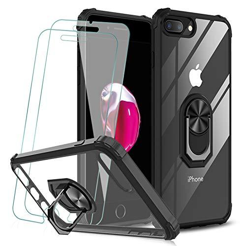 KEEPXYZ Funda para iPhone 7 Plus 8 Plus + 2 Pcs Protector de Pantalla Cristal Vidrio Templado, Parte Posterior Dura de PC Transparente Silicona Carcasa con 360 Grados iman Soporte para iPhone 7 8 Plus