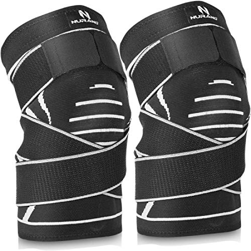 NURAND 2-Pack Knee Compression Sleeve with Side Patella Stabilizer Strap for Men & Women, Best Support & Pain Relief Brace for Meniscus Tear, Arthritis, Running, Basketball, Sports, Gym. (Medium)