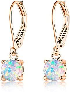 CiNily Round-Cut Opal Dangle Earrings, Blue/White/Pink/Green/Black Fire Opal Rhodium Plated Women Jewelry leverback Gems Drop Earrings