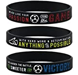 Inkstone Soccer Silicone Wristbands with Motivational Sayings (6-Pack) - Soccer Bracelets Jewelry Gifts