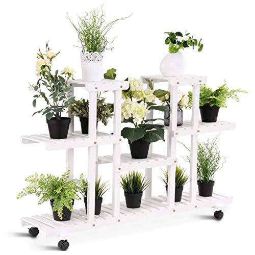 Bloemenstandaard, 4-laags bloemenstandaard 12 potten, houten plantenstandaard bloempotstandaard, tuinstandaardstandaard (met wielen)