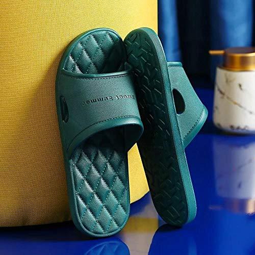 YYFF Comodas Piel Sandalias,Home Couple Slippers,Soft Bottom Non-Slip Sandals-Dark Green_40-41,Chanclas Suaves y cómodas para Hombre