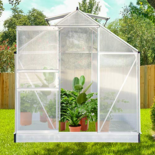 oneinmil Polycarbonate Walk-in Garden Greenhouse with Adjustable Roof Vent and Rain Gutter for Plants, Stable Green House for Flowers Outdoor for Winter,6 x 6 FT