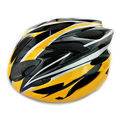 UPANBIKE Casco de Bicicleta Casco de Ciclismo Ajustable de Una Pieza con Visera para Hombres y Mujeres(Amarillo + Negro)