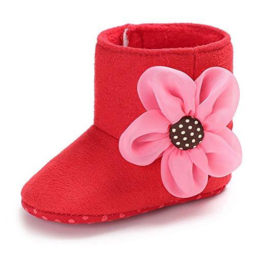 QINJLI Baby Schuhe, Winter 0-1 Jahre Alten weiblichen Baby Kleinkind Schuhe weichen Boden Slip Plus Samt warme Schneeschuhe 11-13cm