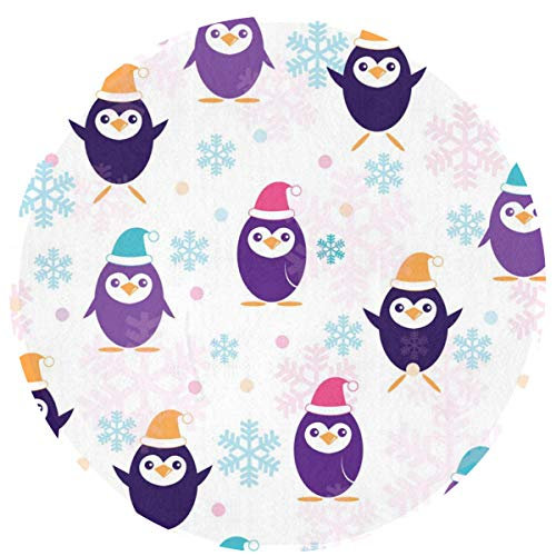 HMYATSO Cute Penguins in Santa Claus Hat Non Slip Absorbent Doormat Resist Dirt Front Door Mat 4060