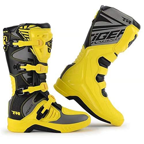 Tobillo Protección Anti Slip Moto blindado Boots - Hombres Amarillo Motocicleta Carreras Botas Montar Zapatos Pro, Anti-Cae Fuera Carretera Botas Motocross Aventura (Size : EU45(UK9))