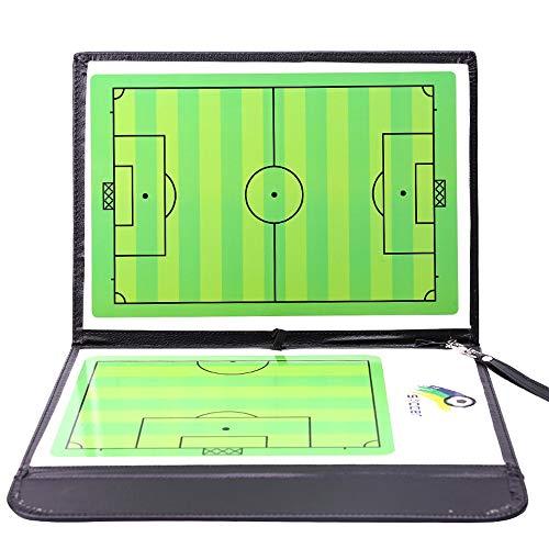 Tablero táctico de fútbol magnético,tablero de enseñanza de entrenamiento de entrenadores adecuado para entrenamiento y guía de enseñanza material de cuero artificial con piezas de ajedrez magnéticas