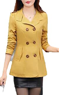 Macondoo Women's Basic Outwear Lapel Jacket Double-Breasted Trenchcoats