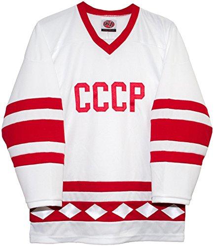 Russian 1980 CCCP White Hockey Jerseys by K1 Sportswear (Large)