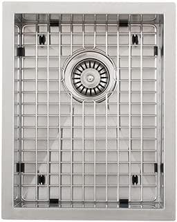 Phoenix 14 英寸(约 35.6 厘米)底座 16 号不锈钢方形厨房酒吧水槽零半径带网格