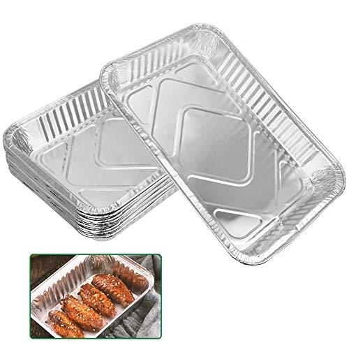 DECARETA 10 Pezzi Vaschette Alluminio Teglie USA e Getta Vassoi di Alluminio USA e Getta Vassoi per BBQ Teglia monouso Teglie Alluminio per Cucinare al Forno 31.6 * 21.2 * 4.2cm