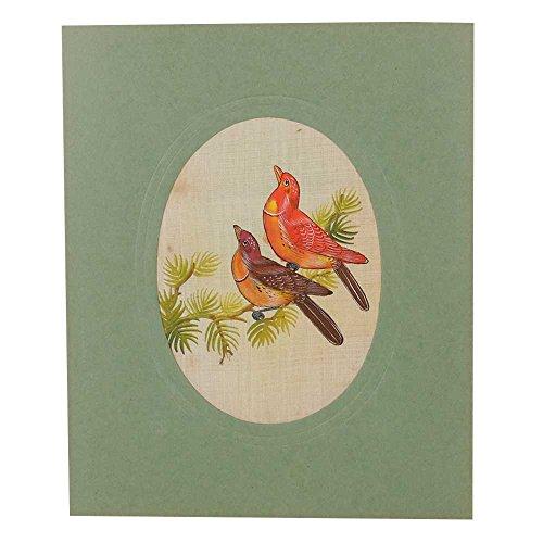 Indien Étagère Papier Fait Main Tissu Couleur à l'eau Amour Oiseaux Peinture Pt-109