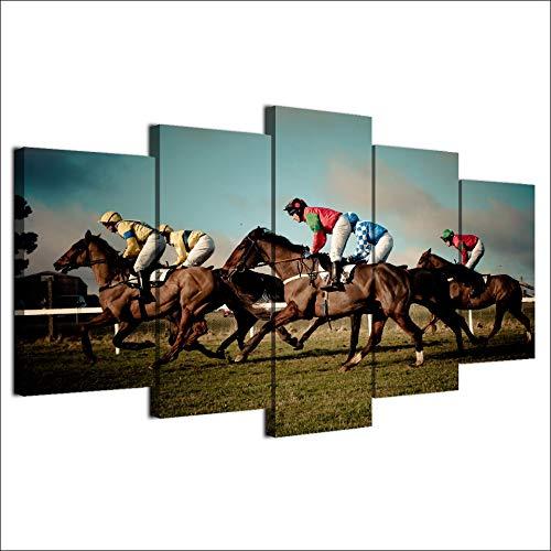 HOMOPK 5-delig muurschildering voor paardenrace of weide, voor woonkamer, wooncultuur, keuken, decoratie, afbeelding, muurkunst, poster, canvas, achtergrondmuur, home decoratie, geschenk 20x35cmx2 20x45cmx2 20x55cmx1 Rahmen.