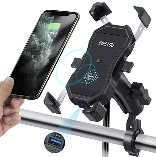 Jitehsha Motorcycle Wireless & QC3.0 USB Phone Mount Charger Qi 15W Handlebar Cellphone Holder Self Locking Double Ball 9CM Stem Socket with Aluminium Base 360 Rotation for 3.5-6.8 Inch Smartphones