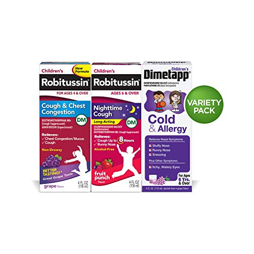 Children's Robitussin Cough &Chest/Night time Long Acting/Dimetapp Cough & Allergy, 4 Fl Oz (Pack of 3)