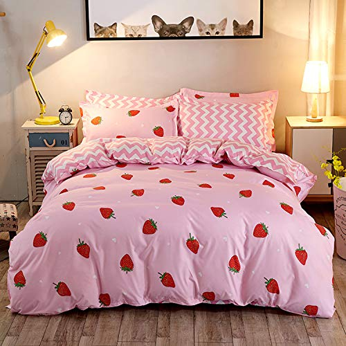 Kawaii Bedding, Pink Strawberry Decor Comforter Cover Set, for Women Girls Kids Kawaii Room Decor, Cute Strawberry Bedding Sets Soft Reversible Cute Kawaii Strawberry Duvet Cover, Twin Size