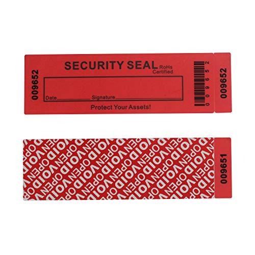 Paquete de 50 pegatinas de transferencia total 100% evidente garantía de seguridad anuladas / etiquetas/sellos (rojo, grande, 35 x 120 mm, números de serie triples - TamperSTOP)