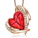 CDE Love Heart Pendant Necklaces for Women Silver Tone Rose Gold Tone Crystals Birthstone Valentines Day Necklaces for Her Gifts for Women Party/Anniversary Day/Birthday