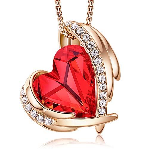 Collar con colgante CDE de corazón para mujer, tono plateado, tono oro rosa, cristales, piedra natal, regalo para fiestas, aniversarios, cumpleaños