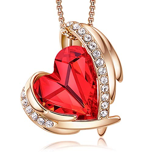CDE 18K Rose Gold Necklaces for Women Valentine's Day Jewellery Gifts for Her Love Heart Pendant Necklace Gifts for Her Wife Mum Girlfriend(Rose Gold Red)