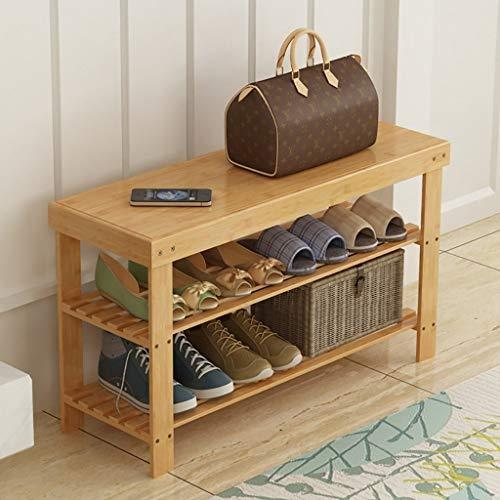 HEMFV Simplifique el banco de almacenamiento, Multicapa de bambú Inicio Banco zapatero, zapatos Organizador, Estante de almacenamiento, ideal for Puerta de entrada Pasillo Cuarto de baño sala de estar