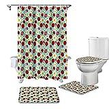 BANLV Handbemalte kleine Gänseblümchen-Marienkäfer-Duschvorhang-Sets rutschfeste Teppiche Toilettendeckelabdeckung & Badematte wasserdichte Badezimmervorhänge