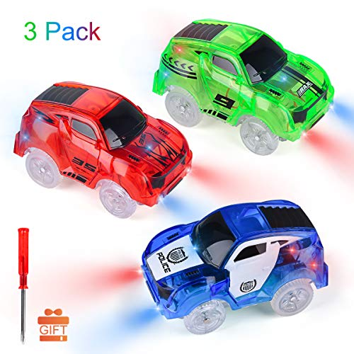 Funkprofi Track Cars Replacement Light Up Toy Cars, 5 LED Flashing Lights Compatible with Most Tracks, Toy Gifts for Boys and Girls (3 Pack)