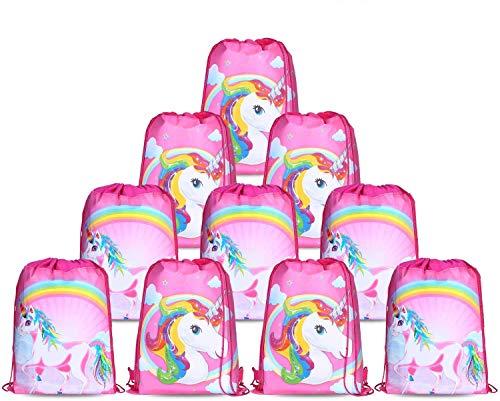 Konsait Lot 10 Unicornio Bolsa de Cuerdas Gymsack Poliéster Bolsa de Hombro Casual Linda Colegios Mochilas para Infantiles Niñas Regalos Cumpleaños comuniones Favor de Fiesta