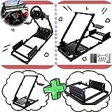 MINNEER Racing Wheel Stand ハンドル スタンド レーシング チェアスタンド +シートの取り付けが可能なブラケット 2点セット レーサーシミュレーター レースシミュレーター ハンドルブラケット レーシングホイールスタンド ギアシフター用マウント セット Logitech G25 G27 G29 G920 T300 RS & T500 RS対応