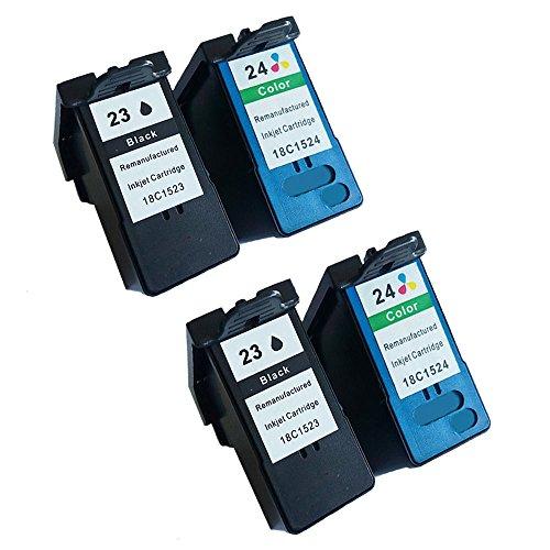 Karl Aiken 4x (2negro, 2Tricolor) Compatible Cartuchos de tinta para Lexmark 232423x l 24x l para Lexmark Z1420X 4550X3550Z1410X 3530X4530impresora