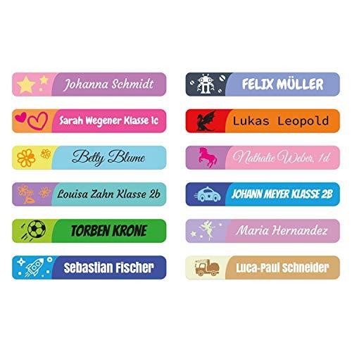 foliado® Namensaufkleber Kinder Etikett 45x7mm Sticker für Stifte Namensetikett Schule Kita Kleidung personalisierte Klebeetiketten wasserfest APD-030 (100)