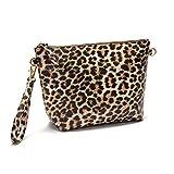 Travel-Wizz -Large Makeup Bag - Crossbody Purse - Cosmetic Bag - Cute Make Up Pouch Toiletry Bag - Vegan friendly PU leather - Versatile Bag for Women - Leopard Print