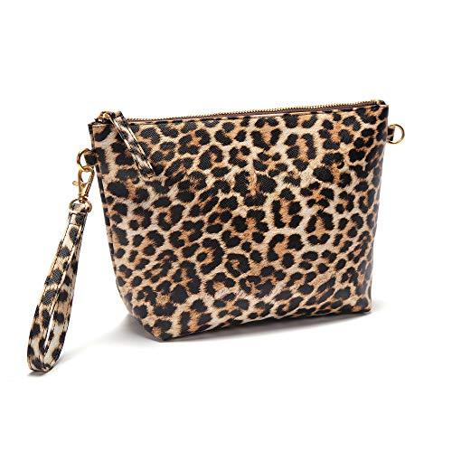 Travel-Wizz Make-up-Tasche Clutch-Geldbörse - Kosmetiktasche - Kulturbeutel Vegan Freundliches PU-Leder - Leopardenmuster Vielseitige Tasche für Damen