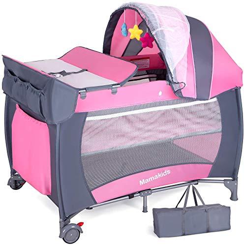 Cuna de Viaje Cuna para bebé con colchón y Juguetes Portátil y Plegable Entrada para corralito para niñas con mosquitera y Bolsa de Transporte Rosa