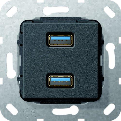 Gira 568510 USB 3.0 A 2-voudige kabelzweep inzet zwart mat