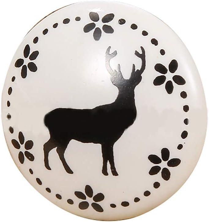 Rancheng 1pc Rond Bouton de Tiroir Noir et Blanc C/éramique Poign/ée de Porte Placard Armoire Moderne Handle D/écoration de Chambre Maison Bureau #Chat
