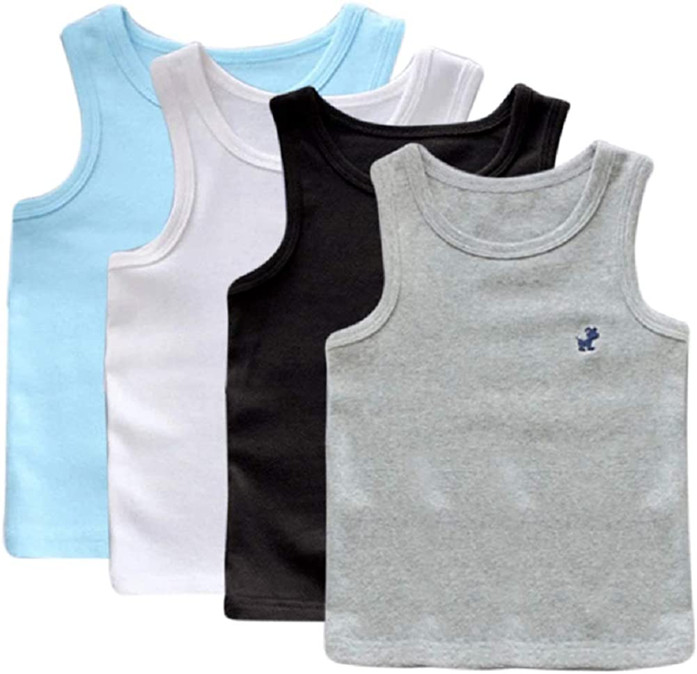 Edmundry 4 Packs Toddler Kids Boys Cotton Tank Top Crew Neck Comfort Undershirt Tank Tops