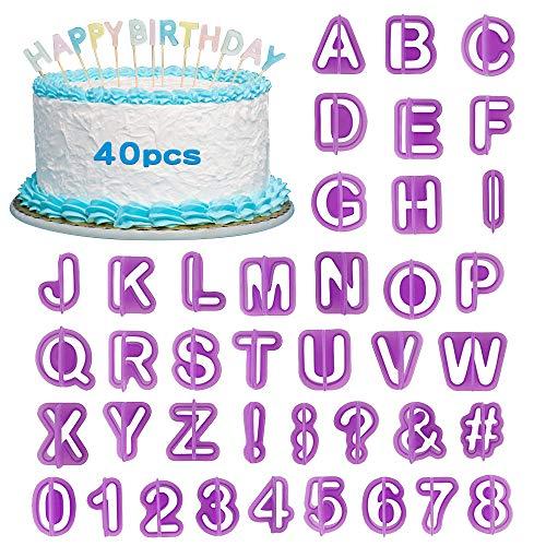 40 Stück Buchstaben Ausstecher für Fondant, XCOZU Fondant Ausstechformen Buchstaben Set, Fondant Ausstecher Satzzeichen und Zahlen Alphabet zum Keks Kuchen Tortendeko Geburtstag, Backzubehör