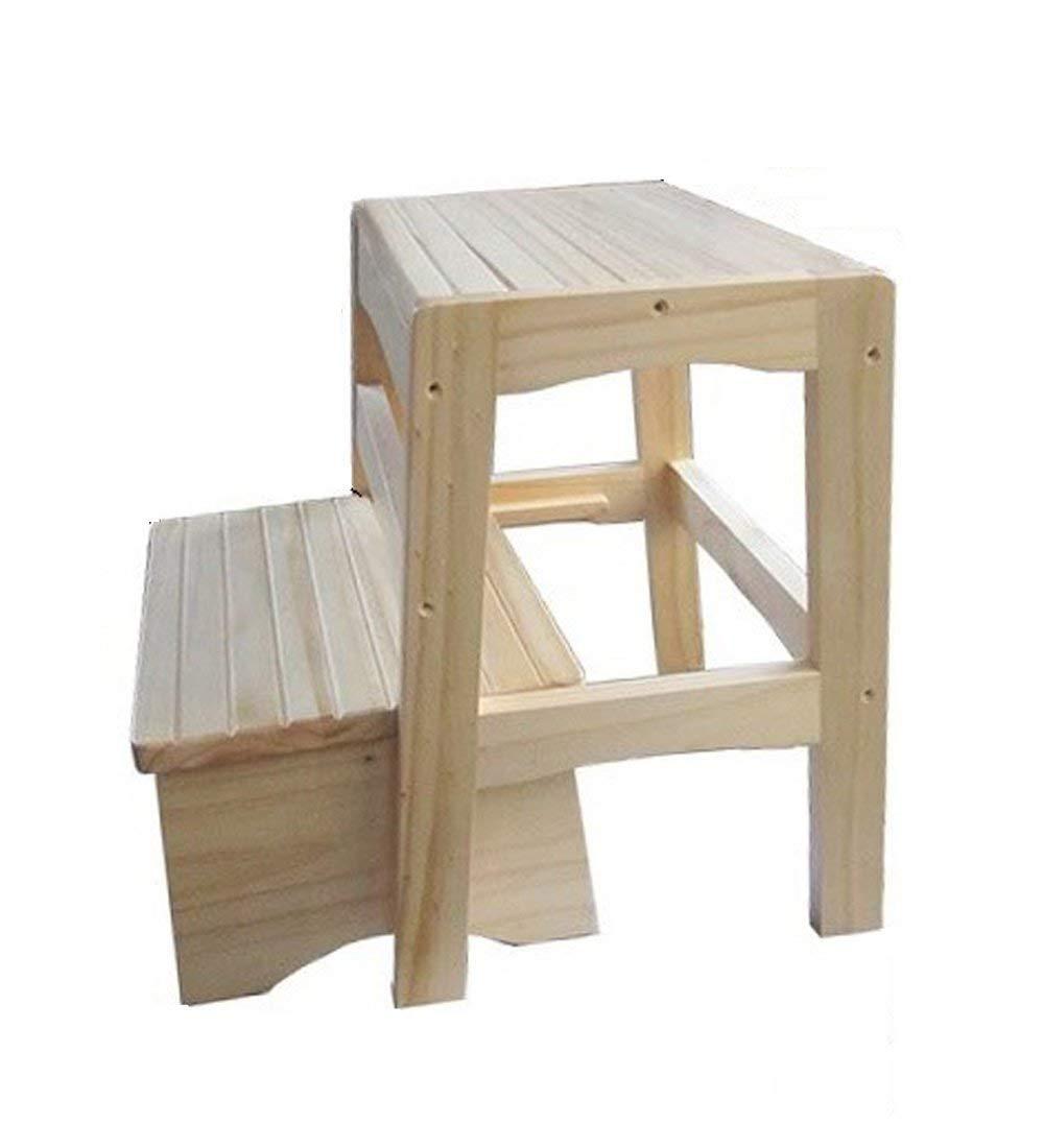 KEWEI - Escalera plegable de madera maciza, con 2 escalones, para escalada, para cuarto de baño, antideslizante, altura 40 cm, color madera: Amazon.es: Hogar