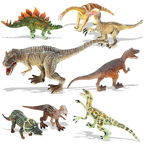 QuadPro Dinosaur Toys Sets for Kids, 8 Piece Jumbo Plastic Dinosaurs Figures Include Saurophaganax, Brachiosaurus, Velociraptor, Triceratops, T Rex and More, STEM Toys for Boys and Girls