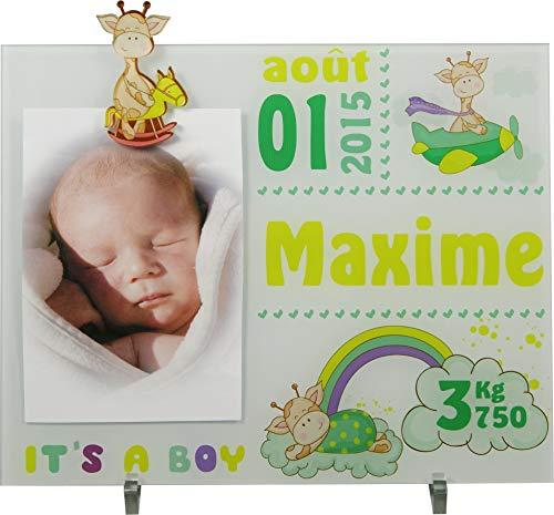 Cadre Photo Naissance - Cadeau de Naissance personnalisé avec le prénom du bébé – idéal pour la liste de naissance – pour garçon – Kd-Z