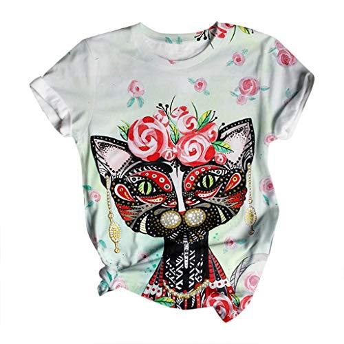 Inawayls Damen 3D-bedrucktes Hemd Sommermode lässig T-Shirt mit Tiermotiv O-Ausschnitt Retro Bluse Kurzarm Lose T-Shirt Top
