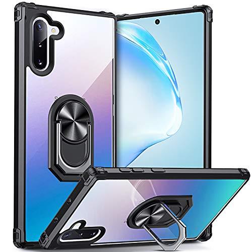 DOSNTO Funda para Samsung Galaxy Note 10 Antigolpes Dura Carcasa Transparente TPU Silicona Protección con 360 Grados Anillo iman Soporte, Negro