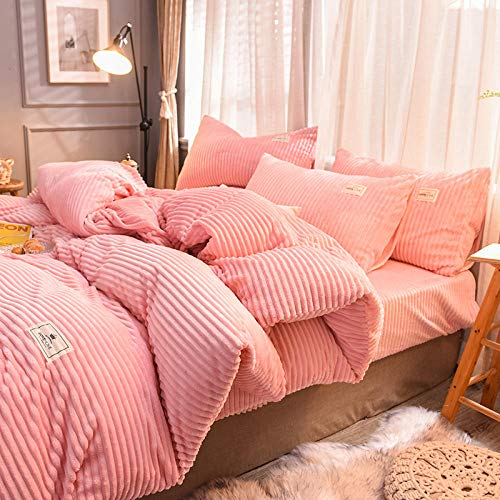 Shinon teddy bear bedding single red,Fleece Duvet Quilt Cover Bedding Set With Matching Pillowcase Teddy Warm and Cosy Single-P_1.8m bed (4 pieces)