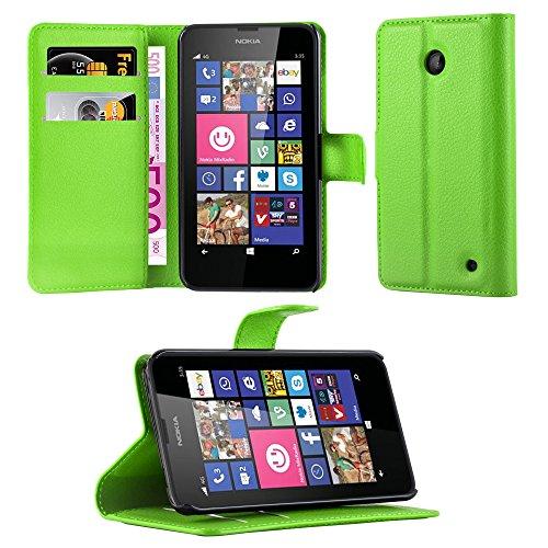 Cadorabo Hülle für Nokia Lumia 630/635 - Hülle in MINZ GRÜN – Handyhülle mit Kartenfach & Standfunktion - Hülle Cover Schutzhülle Etui Tasche Book Klapp Style