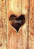 Mini Kalender 2017 - Herz aus Holz: ca. DIN A6, 1 Woche pro Seite