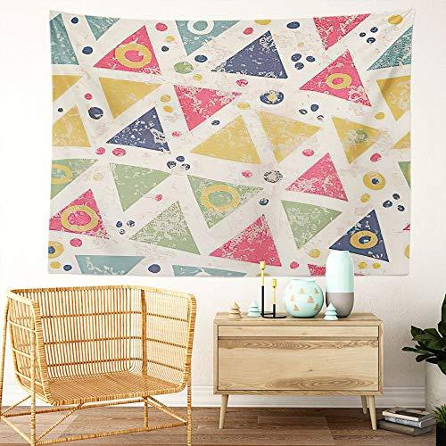 Y·JIANG Tapiz de circo, triángulos y lunares geométricos para el hogar, tapiz grande decorativo, manta ancha para colgar en la pared para sala de estar, dormitorio, 80 x 60 pulgadas